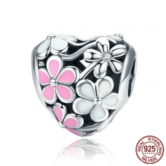 New Collection 925 Sterling Silver Spring Pink Daisy Flower Charms Beads fit Women Bracelet DIY jewelry Making SCC761