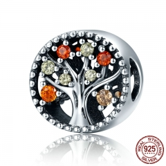 Autumn Collection Genuine 925 Sterling Silver Tree of Life Fruitful Autumn Beads fit Women Bracelets DIY Jewelry SCC219