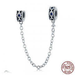 100% 925 Sterling Silver Guardian Blue Eyes Blue CZ Safety Chain Stopper Charm fit Bracelet Bangles DIY Jewelry SCC617