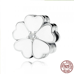 925 Sterling Silver WHITE PRIMROSE CLIP Charms for Charm Bracelet Women Beads Jewelry Making PAS288