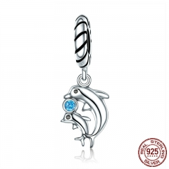 Authentic 100% 925 Sterling Silver Dolphins Story with Clear CZ Charms fit Bracelet & Necklaces Women Jewelry SCC264