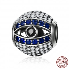 Genuine 925 Sterling Silver Blue Eyes Eye Of Nazar Lucky Guardian Beads Charm fit Charm Bracelets Bangles Jewelry SCC172