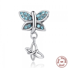 Spring Collection 925 Sterling Silver Blue Crystals Butterfly Pendants Charm fit Bracelets SCC030