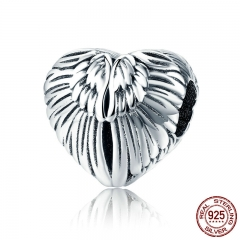 100% 925 Sterling Silver Angel Wings in Heart Shape Charm Beads Fit Women Bracelets Bangles DIY Jewelry Making SCC780