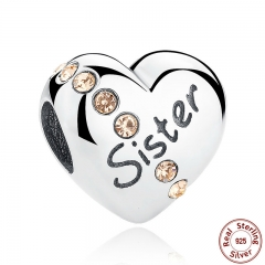 New Trendy 925 Sterling Silver Sister Floating Heart Charm fit Bangles Jewelry Making Family Gift SCC008