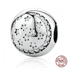 100% 925 Sterling Silver Twinkling Night Clip, Little STARS Clear CZ Charms fit Bracelet DIY Accessories PSC024