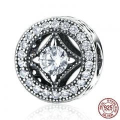 Original 925 Sterling Silver Round Shape Clearly CZ AAA Zircon Charms Fit Bracelets Beads & Jewelry Making PAS382