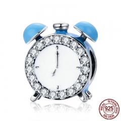 Authentic 100% 925 Sterling Silver Happy Time Clock Hour Bell Charm Beads fit Bracelet Necklaces Jewelry Making SCC659