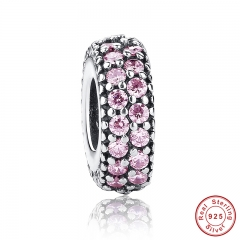 New Gift Charms Fit Original Bracelet Necklace Pure 925 Sterling Silver Inspiration Within Spacer, Pink CZ Beads PAS124