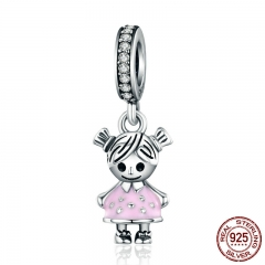 Fashion 100% 925 Sterling Silver Couple Little Girl Pendant Charm fit Girls Charm Bracelet & Necklaces DIY Jewelry SCC543