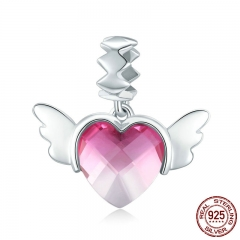 100% 925 Sterling Silver Love Heart Wings Pink Red Crystal CZ Pendant Charms Fit Bracelets & Necklaces DIY Jewelry SCC846
