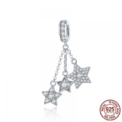 Genuine 925 Sterling Silver Sparkling Star Meteor Long Chain Pendant Clear CZ Charm fit Charm Bracelet DIY Jewelry SCC881