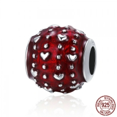 Romantic New 925 Sterling Silver Passionate Love Heart Pave Red Enamel Beads fit Women Charm Bracelet DIY Jewelry SCC343