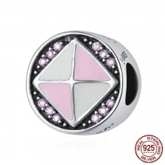 Genuine 925 Sterling Silver Gorgeous Square Geometric Pink Clear CZ Round Charm Beads fit Charm Bracelet Jewelry SCC279