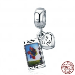 Genuine 925 Sterling Silver Call Me telephone Phone Mobile Charm Pendant fit Women Bracelet & Necklaces Jewelry SCC667