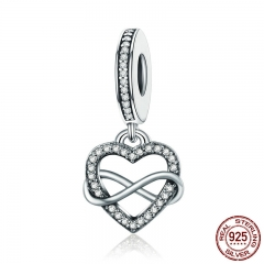 Genuine 925 Sterling Silver Endless Love Infinity Heart Dangle Beads fit Charm Bracelet for Women DIY Jewelry S925 SCC261