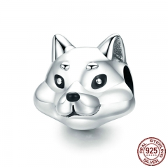 100% 925 Sterling Silver Lovely Animal Shiba Inu Dog Charm Beads fit Women Charm Bracelets & Bangles DIY Jewelry SCC833