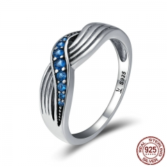 Genuine 925 Sterling Silver Sea Waves Blue Sparking CZ Finger Rings for Women Wedding Engagement Jewelry Gift SCR186