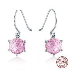 100% 925 Sterling Silver Pink Crystal CZ Square Hanging Drop Earrings for Women Fashion Silver Earrings Jewelry SCE253