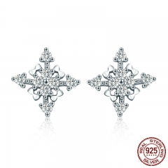 New Arrival 100% 925 Sterling Silver Dazzling CZ Geometric Stud Earrings for Women Sterling Silver Jewelry SCE350-1H