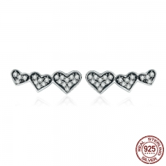 100% 925 Sterling Silver Stackable Heart Dazzling Clear CZ Small Stud Earrings for Women Sterling Silver Jewelry SCE308
