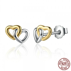 New Arrival 925 Sterling Silver Heart to Heart Small Stud Earrings Women Engagement Jewelry PAS442