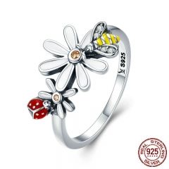 Genuine 100% 925 Sterling Silver Bee and Ladybug in Flower Garden Finger Rings for Women Sterling Silver Jewelry SCR311