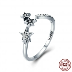 100% Authentic 925 Sterling Silver Stackable Star Adjustable Finger Ring for Women Sterling Silver Jewelry Gift SCR312