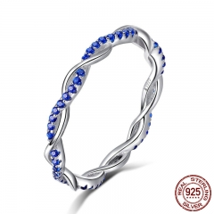 New Arrival 925 Sterling Silver Ring Twisted Line Round Blue CZ Finger Rings for Women Wedding Engagement Jewelry SCR402