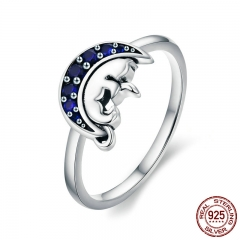 Genuine 925 Sterling Silver Cat Sleep in Blue Moon Crystal Finger Rings for Women Sterling Silver Jewelry Anel SCR340