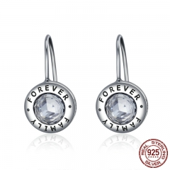 Genuine 925 Sterling Silver Family Forever CZ Drop Earrings Women Fashion Fashion Earrings Silver Jewelry Brincos SCE219