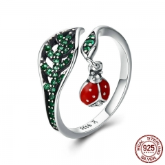 925 Sterling Silver Resting Ladybug Dangle in Tree Leaves Finger Rings for Women Sterling Silver Jewelry Gift SCR310