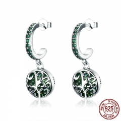 Hot Sale 100% 925 Sterling Silver Green Crystal Tree of Life Tree Leaves Drop Earrings for Women Fashion Jewelry SCE280