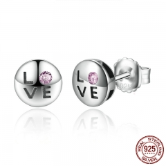 Romantic Gift 100% 925 Sterling Silver Pink Crystals LOVE Small Stud Earrings for Women Fashion Jewelry SCE024-1L