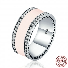 Real 925 Sterling Silver Radiant Hearts & Light Pink Enamel Clear CZ Wide Band Ring for Women Engagement Jewelry PA7624