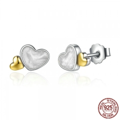 Classic 100% 925 Sterling Silver LUMINOUS HEARTS ROMANTIC STUD EARRINGS For Women Fine Jewelry PAS477