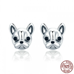 100% 925 Sterling Silver Loyal Partners French Bulldog Dog Animal Small Stud Earrings for Women Oorbellen Jewelry SCE283 EARR-0294