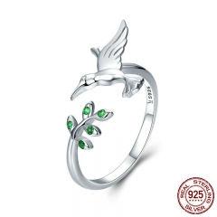 Authentic 925 Sterling Silver Bird & Spring Tree Leaves Open Size Finger Rings for Women Sterling Silver Jewelry SCR323