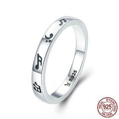 New Arrival Genuine 925 Sterling Silver Romantic Music Notes Finger Rings for Women Sterling Silver Jewelry S925 SCR199