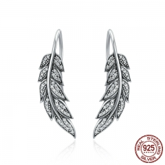 Authentic 925 Sterling Silver Vintage Feather Wings Long Drop Earrings for Women Sterling Silver Jewelry Brincos SCE215 EARR-0208