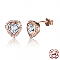 Birthday Gift 925 Sterling Silver One Love Stud Earrings for Women Fine Heart Shape Gold Color Jewelry PAS473