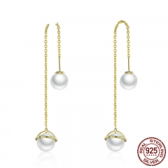 High Quality 925 Sterling Silver & Gold Planet Long Drop Earrings for Women Sterling Silver Earrings Jewelry Gift SCE230