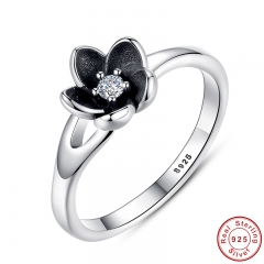 New Collection Authentic Mystic Floral Flower Stackable Ring CZ & Black Enamel 925 Sterling Silver Jewelry PA7154
