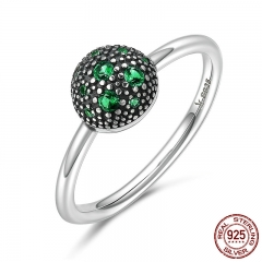 Genuine 100% 925 Sterling Silver Round Green Sparking CZ Finger Rings for Women Sterling Silver Jewelry S925 Gift SCR138
