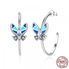 Vintage 100% 925 Sterling Silver Round Circle Earrings with Blue Butterfly Women Drop Earrings Jewelry SCE017