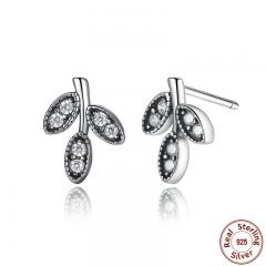 Presents 925 Sterling Silver Sparkling Leaves Stud Earrings Clear CZ Fashion Jewelry Special Store PAS416