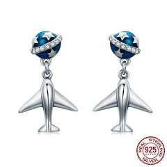 100% 925 Sterling Silver Fashion Star Tours Planet & Plane Drop Earrings for Women Fine Silver Jewelry Brincos SCE331