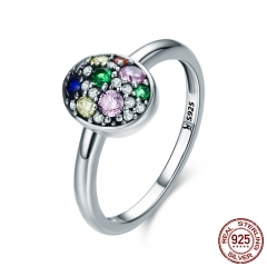 Elegant 100% 925 Sterling Silver Easter Egg Colorful CZ Finger Rings for Women Wedding Engagement Jewelry Anel SCR295