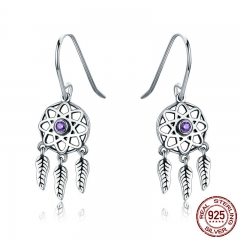Genuine 100% 925 Sterling Silver Dream Catcher Holder Drop Earrings for Women Sterling Silver Jewelry Gift SCE394