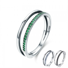 Hot Sale 100% 925 Sterling Silver 3 Color Stackable Double Circle Layers Ring for Women Authentic Silver Jewelry SCR294